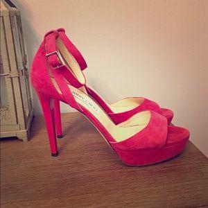 Pink Suede Jimmy Choo Heels Strappy 39.5